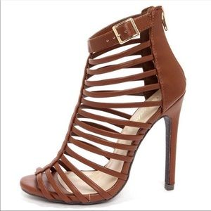 Paprika cognac brown cage heels